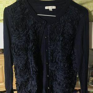 New York & Co Navy Flower Sweater